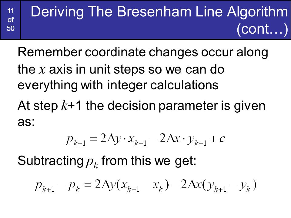 Bresenham Line Drawing Algorithm Negative Slope : Computer graphics bresenham line drawing algorithm