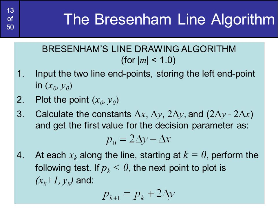 Bresenham Line Drawing Algorithm For Slope Less Than 1 : Computer graphics bresenham line drawing algorithm