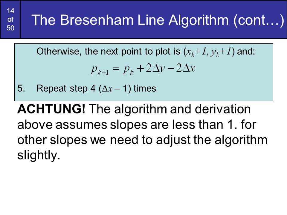 The Bresenham Line Algorithm (cont…)