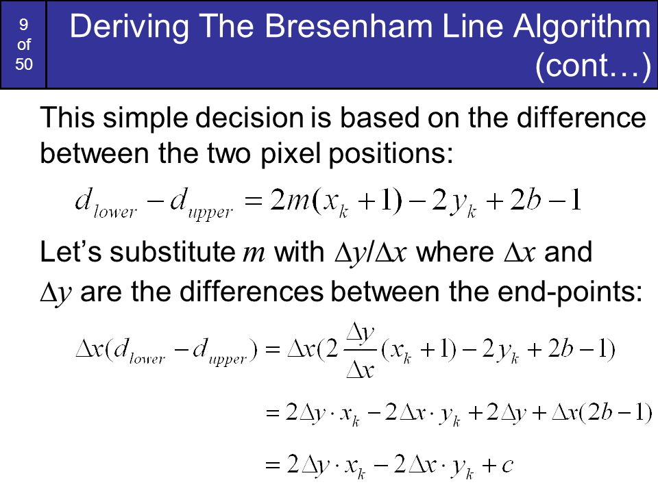 Bresenham Line Drawing Algorithm Decision Parameter : Computer graphics bresenham line drawing algorithm