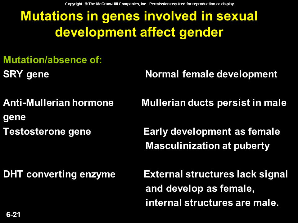 Mutations in genes involved in sexual development affect gender