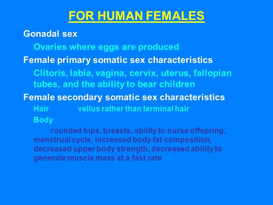 FOR HUMAN FEMALES Gonadal sex Ovaries where eggs are produced