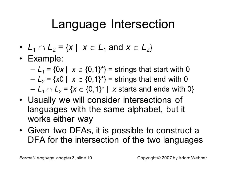 Language Intersection