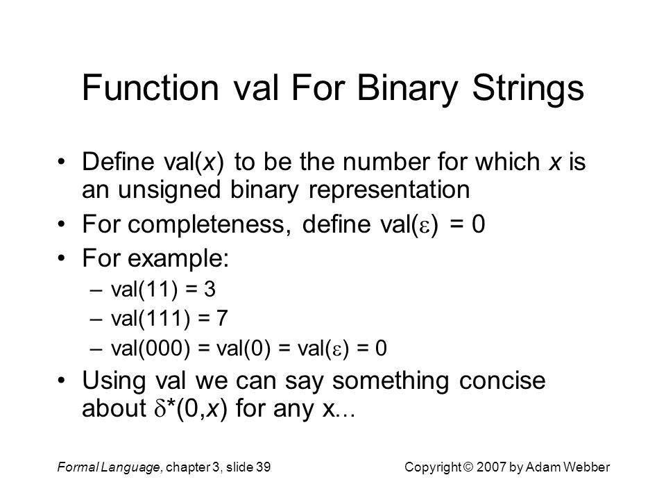 Function val For Binary Strings