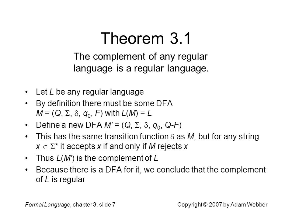 Theorem 3.1 The complement of any regular language is a regular language. Let L be any regular language.