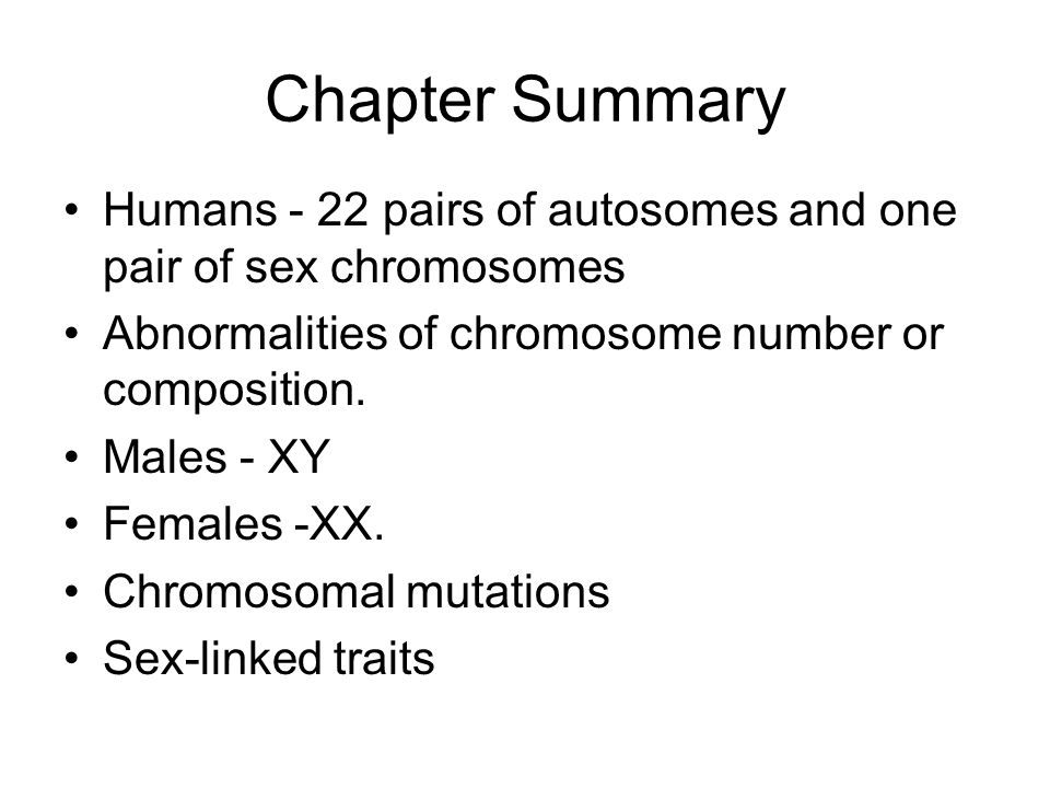 Chapter Summary Humans - 22 pairs of autosomes and one pair of sex chromosomes. Abnormalities of chromosome number or composition.