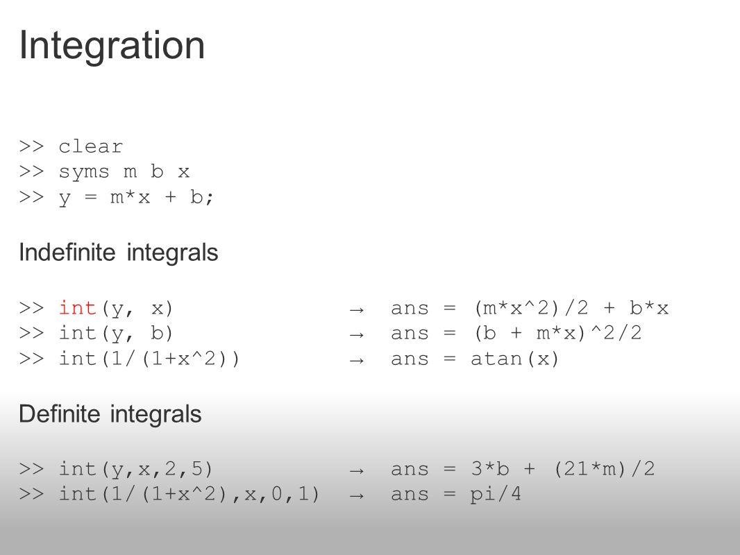 Integration Indefinite integrals
