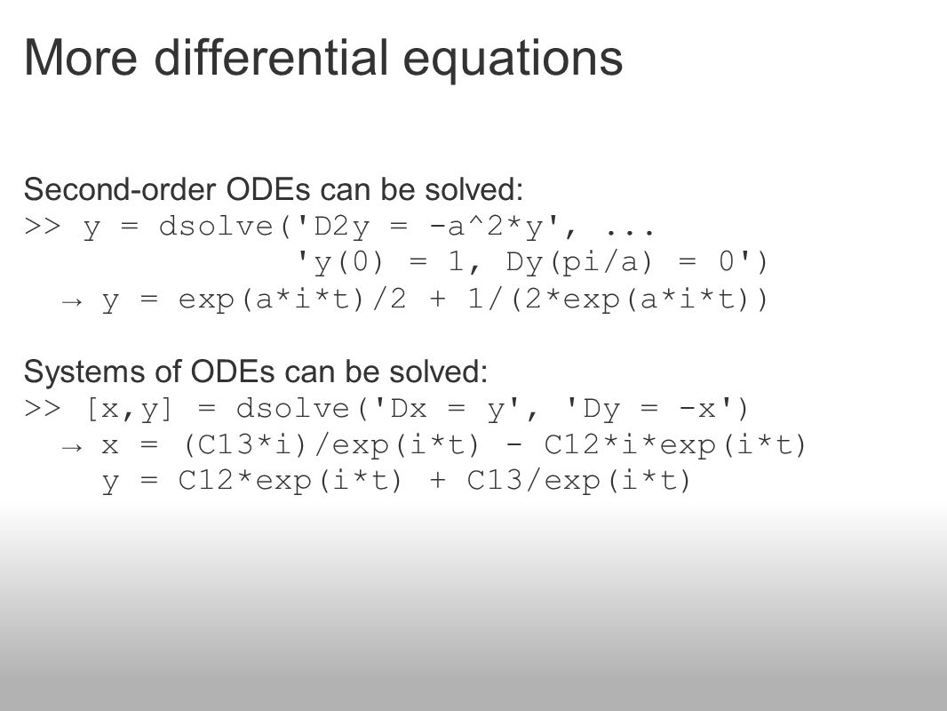 More differential equations