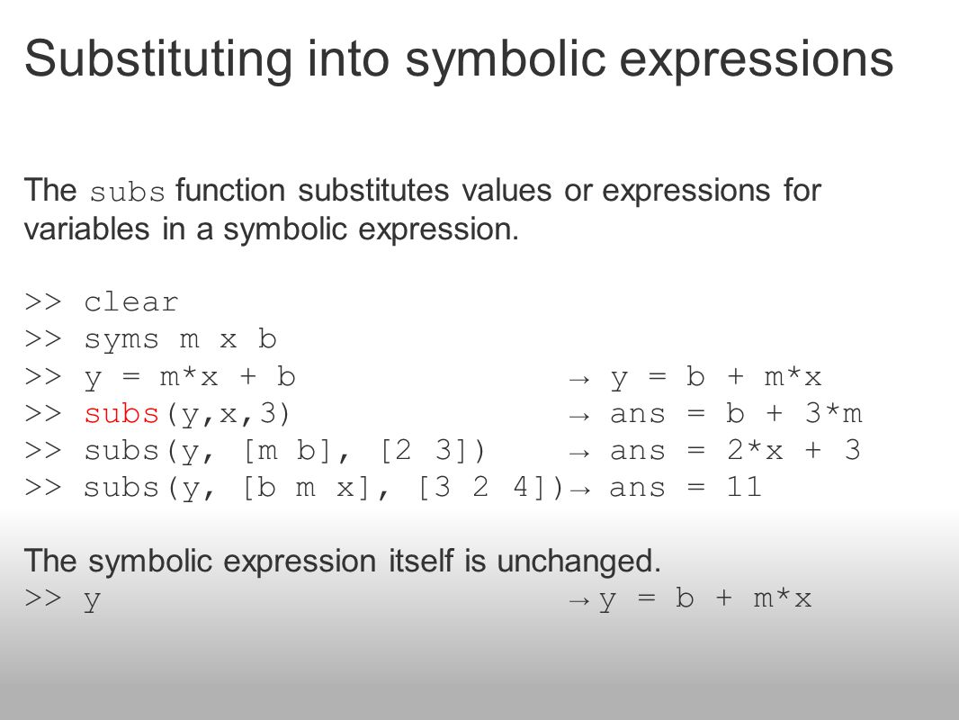 Substituting into symbolic expressions