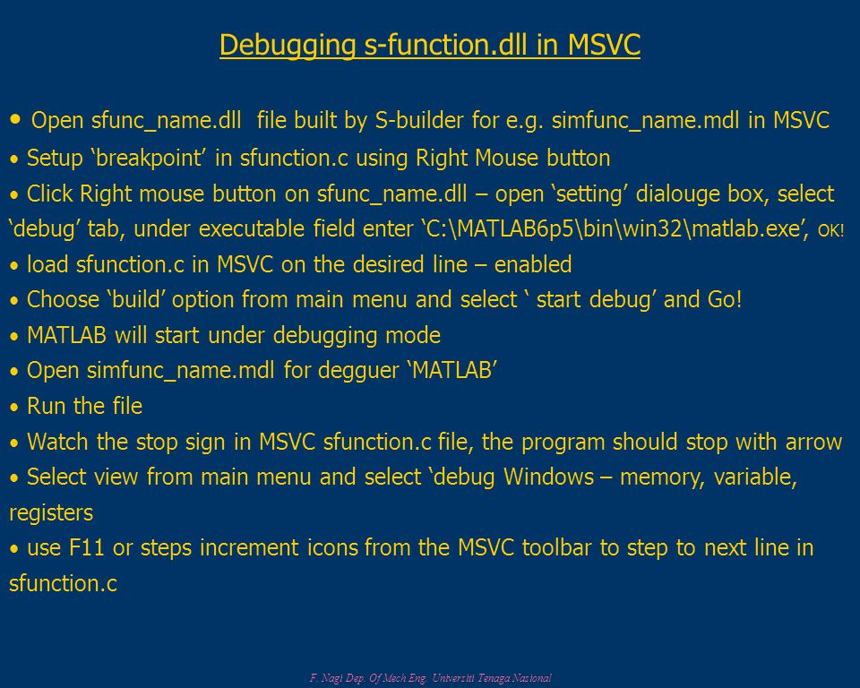 Debugging s-function.dll in MSVC