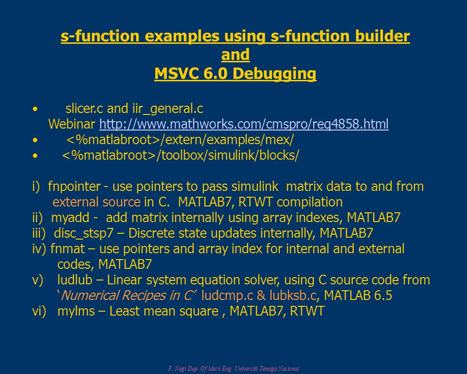 s-function examples using s-function builder