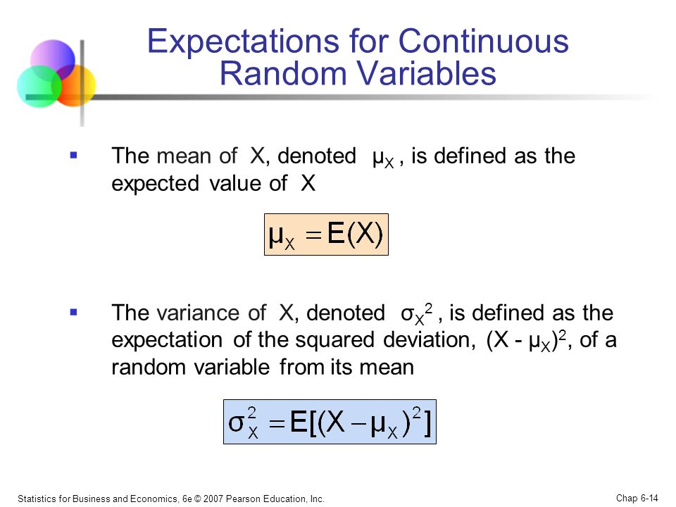 Expectations for Continuous Random Variables