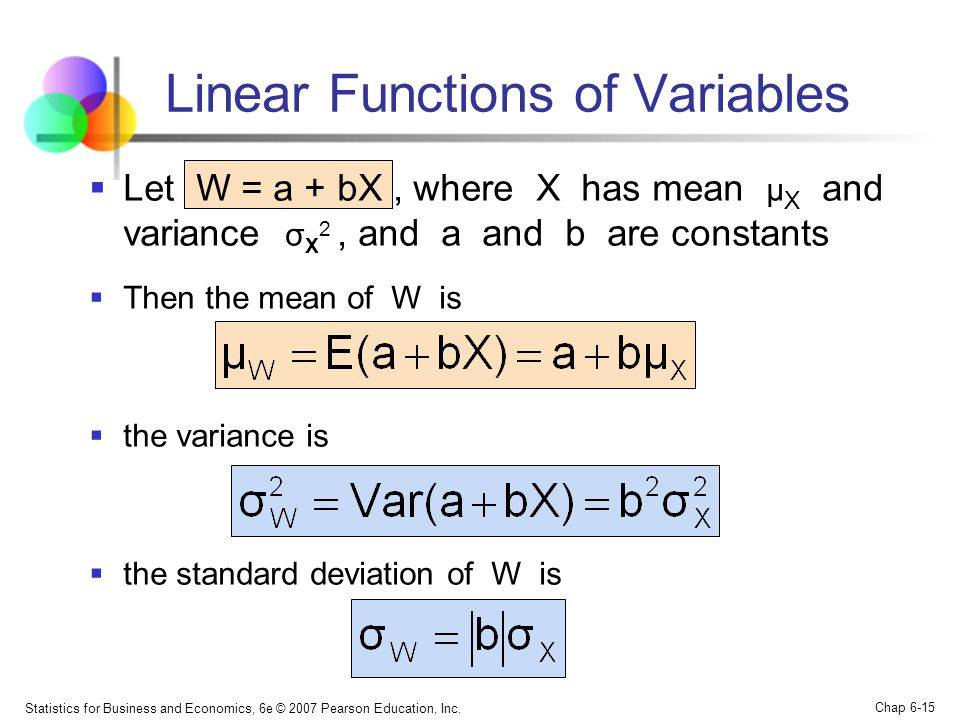 Linear Functions of Variables