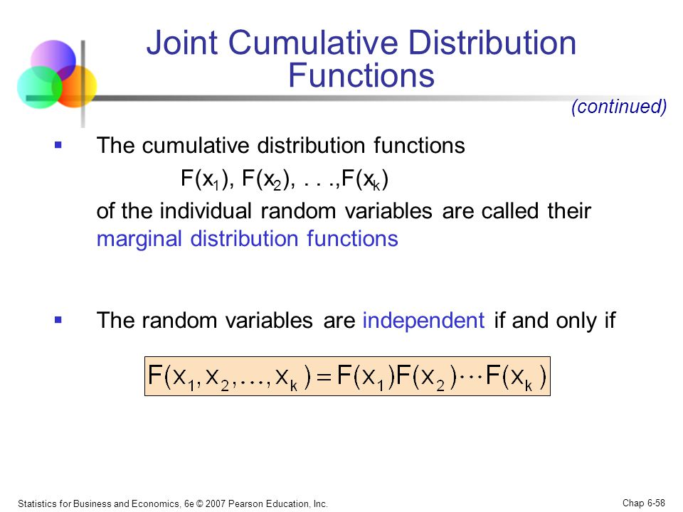 Joint Cumulative Distribution Functions