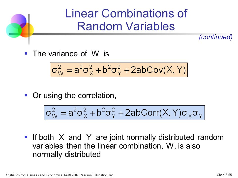 Linear Combinations of Random Variables