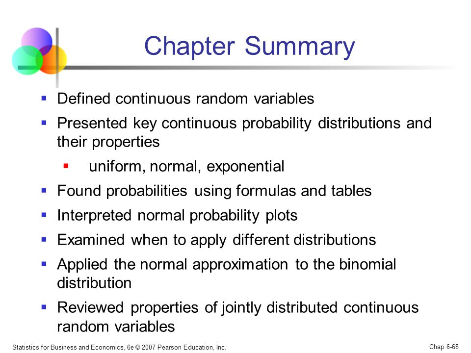 Chapter Summary Defined continuous random variables