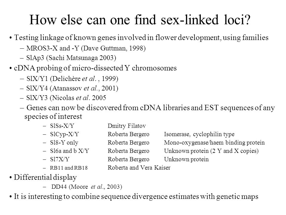 How else can one find sex-linked loci
