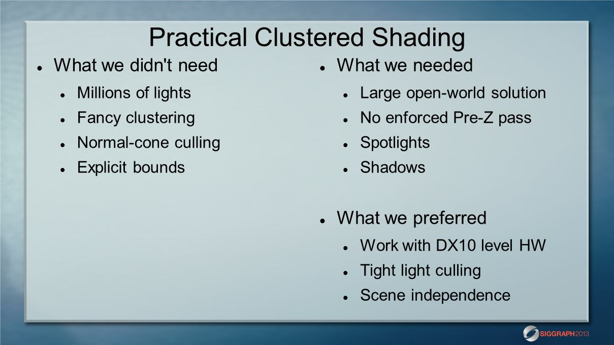 Practical Clustered Shading