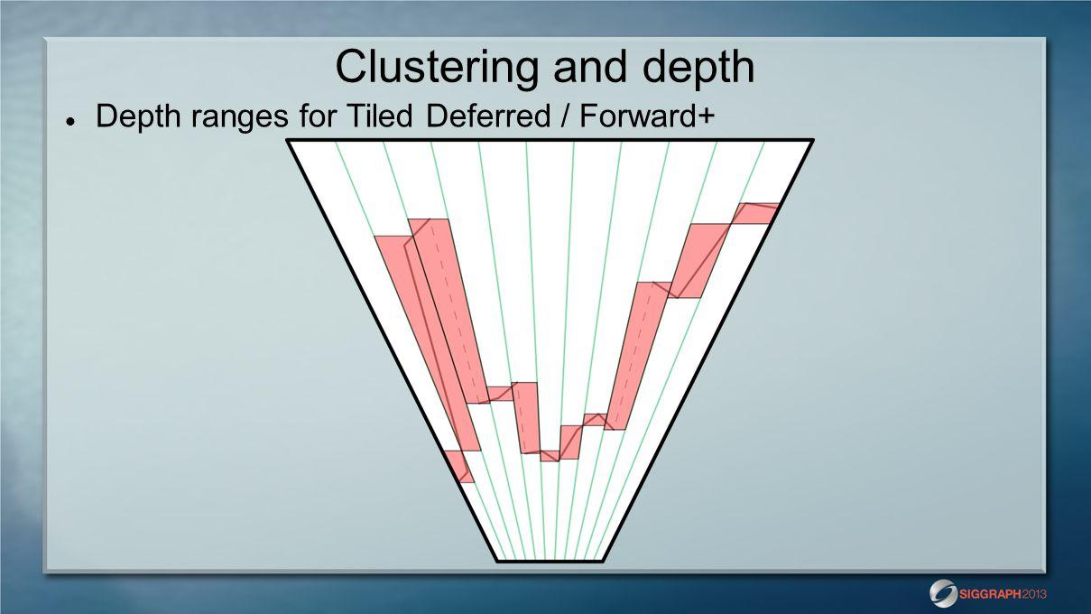 Clustering and depth Depth ranges for Tiled Deferred / Forward+