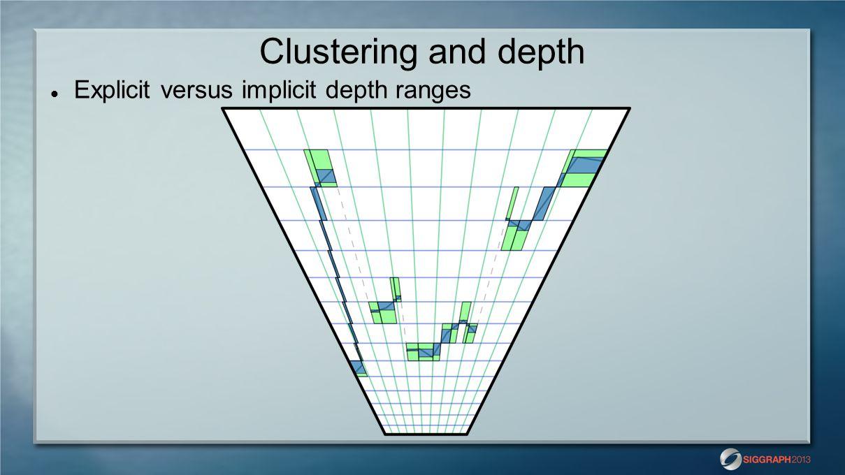 Clustering and depth Explicit versus implicit depth ranges