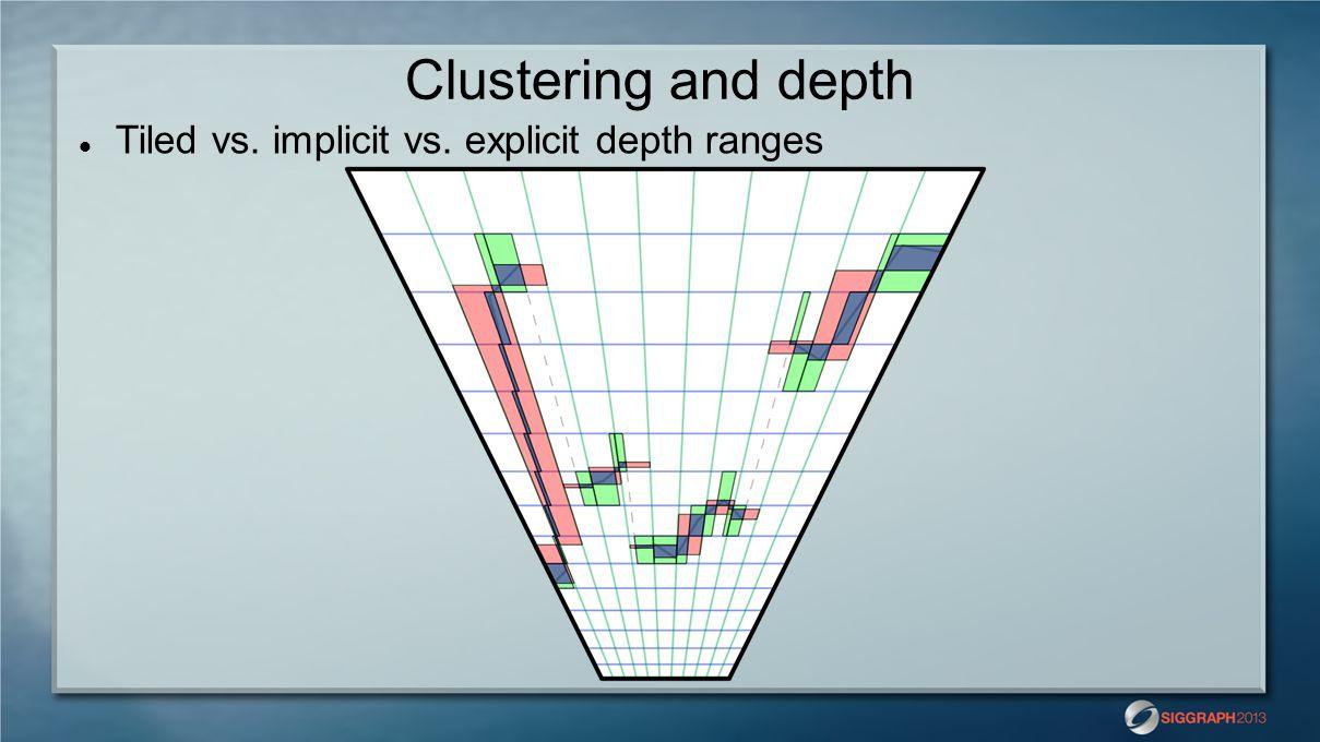 Clustering and depth Tiled vs. implicit vs. explicit depth ranges