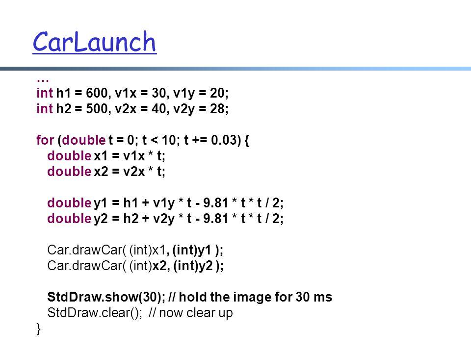 CarLaunch … int h1 = 600, v1x = 30, v1y = 20;