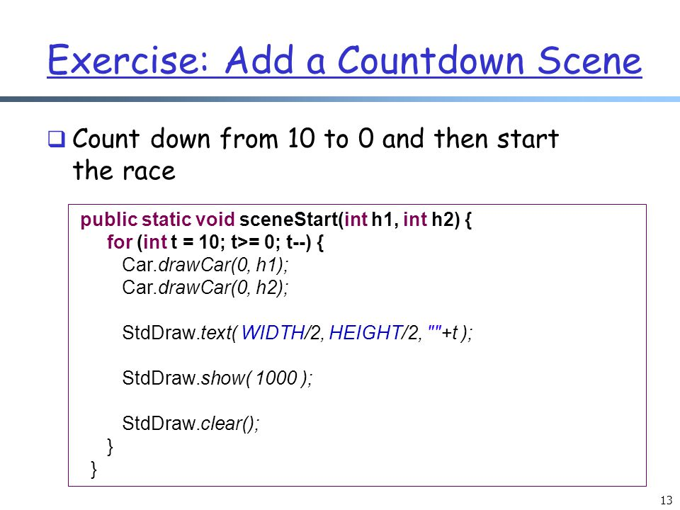 Exercise: Add a Countdown Scene