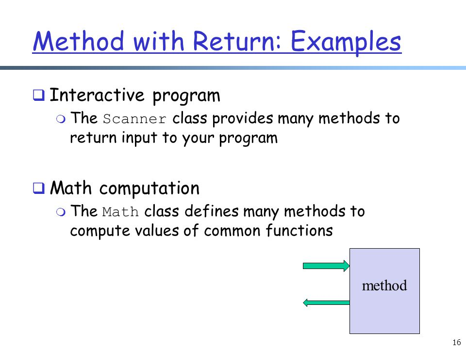 Method with Return: Examples