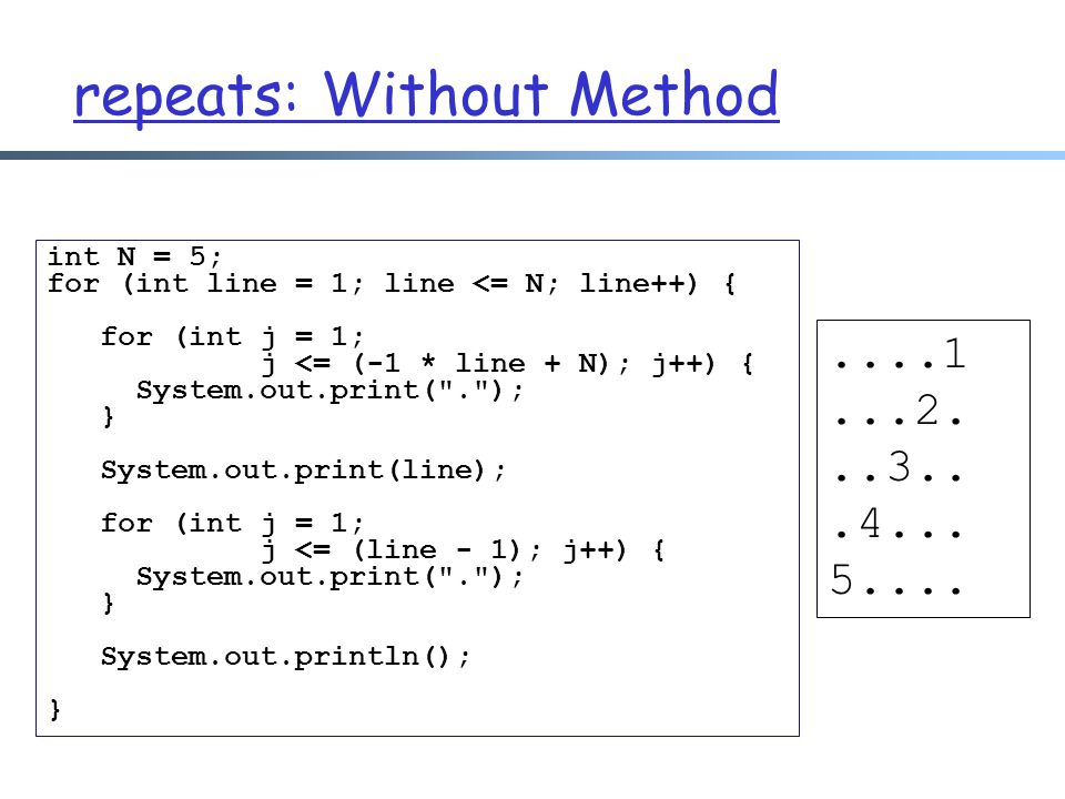 repeats: Without Method