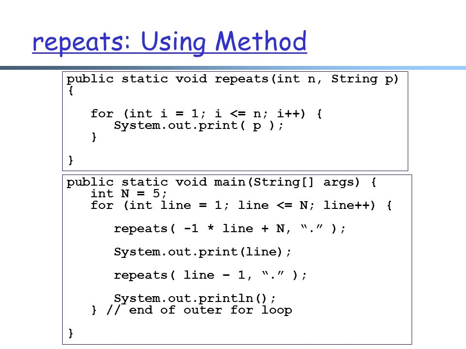 repeats: Using Method public static void repeats(int n, String p) {