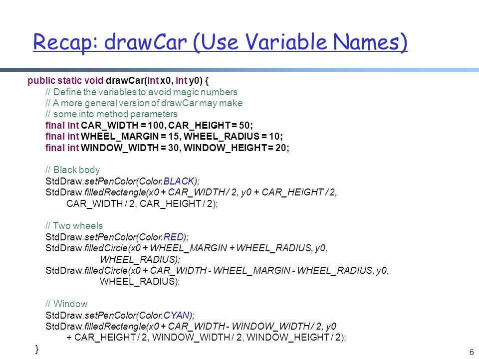 Recap: drawCar (Use Variable Names)