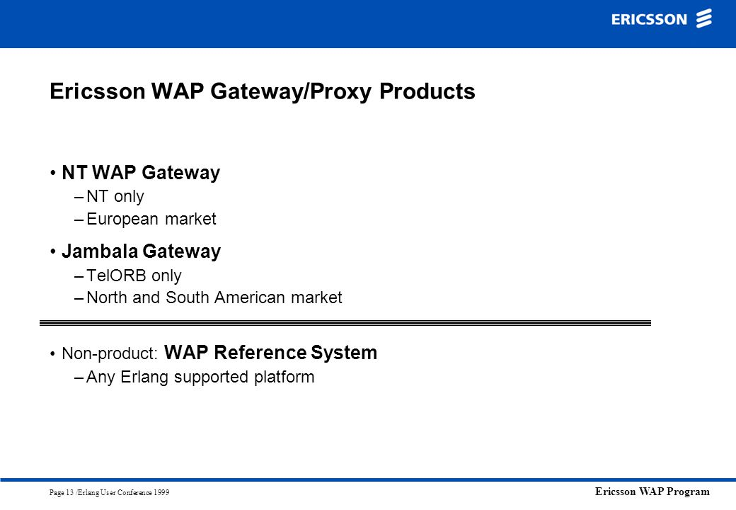 Ericsson WAP Gateway/Proxy Products