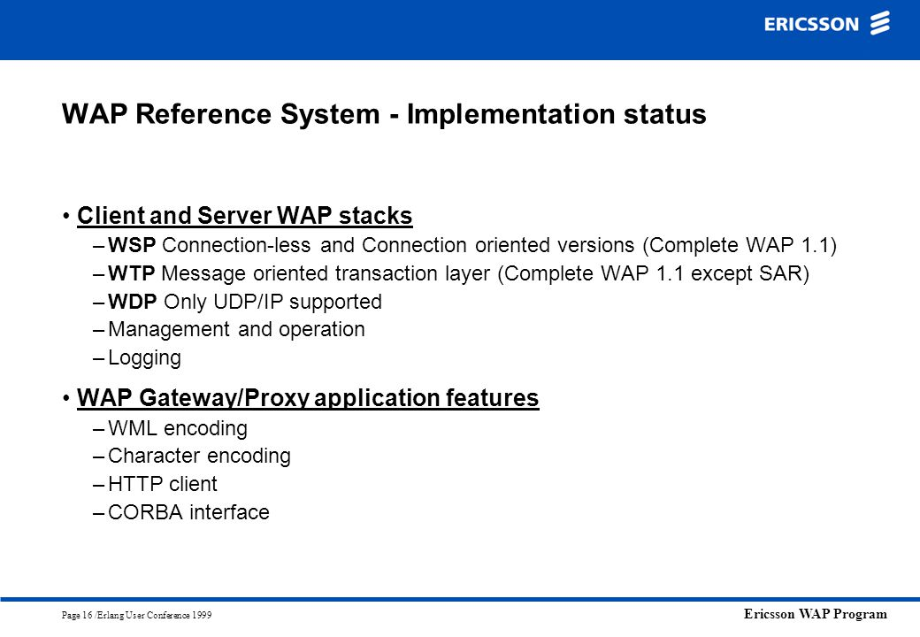 WAP Reference System - Implementation status