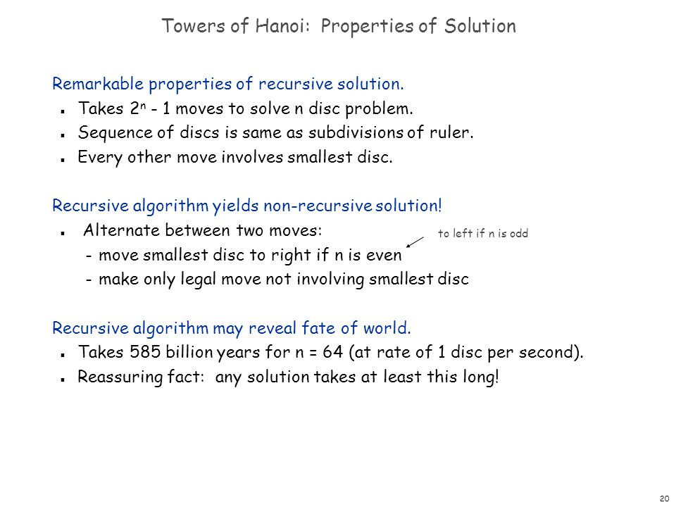 Towers of Hanoi: Properties of Solution