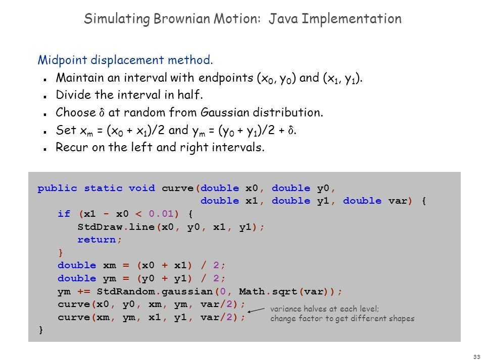 Simulating Brownian Motion: Java Implementation