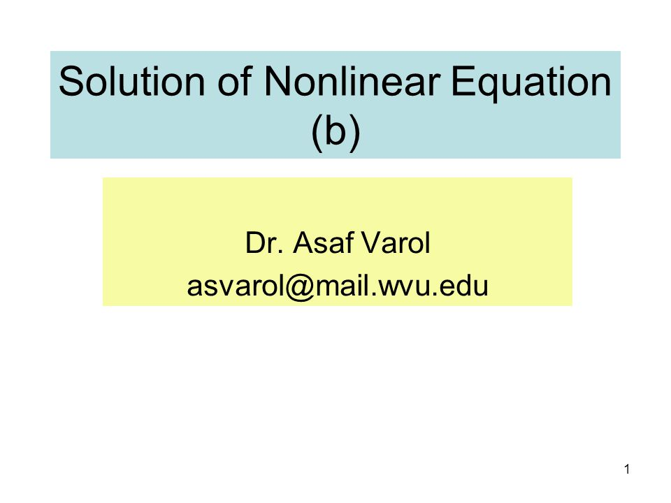 Solution of Nonlinear Equation (b)