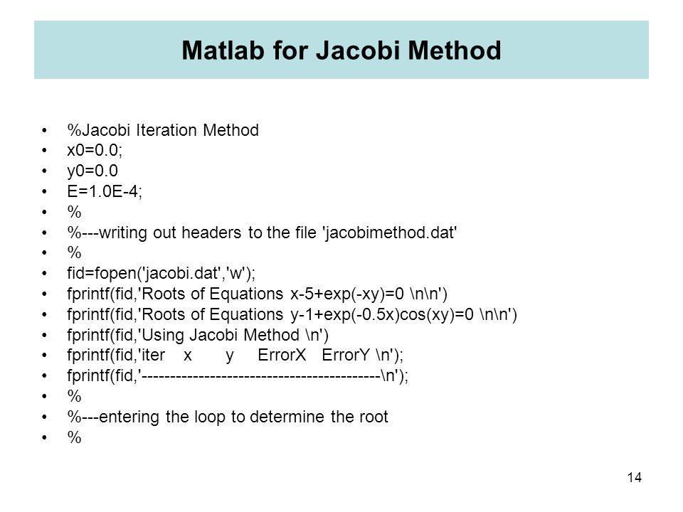 Matlab for Jacobi Method
