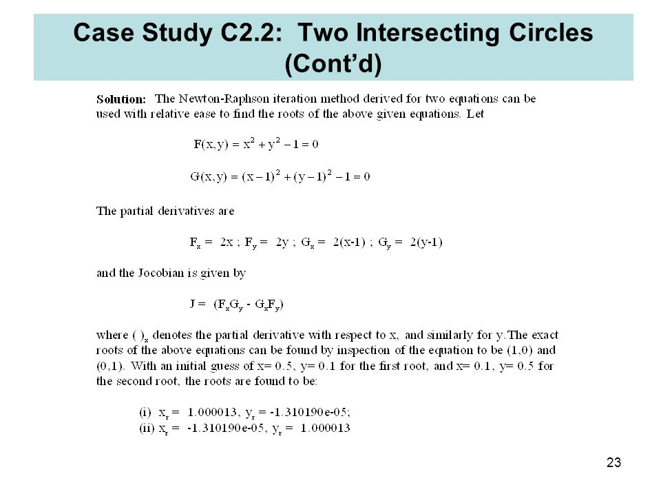Case Study C2.2: Two Intersecting Circles (Cont'd)