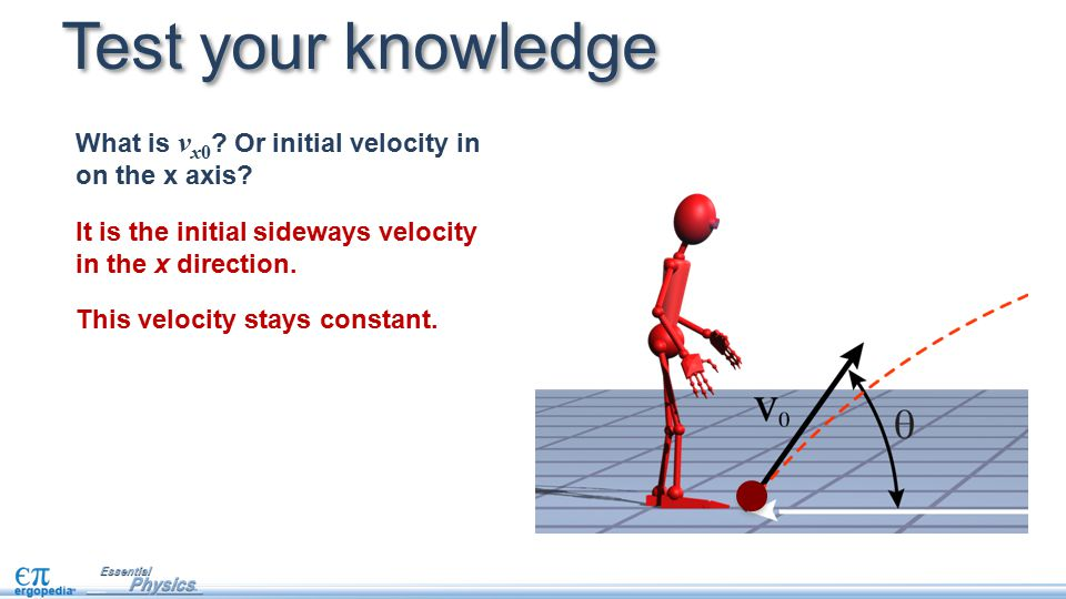 Test your knowledge What is vx0 Or initial velocity in on the x axis