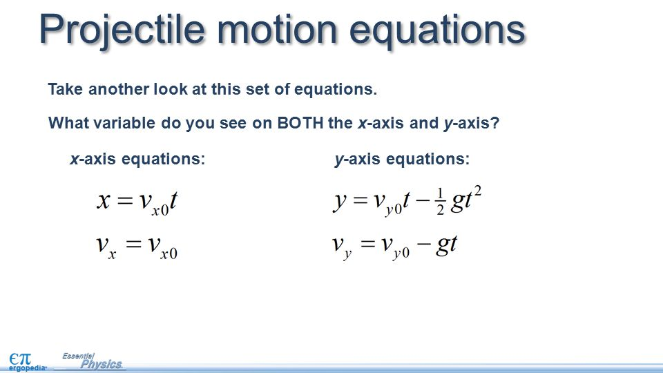 Projectile motion equations