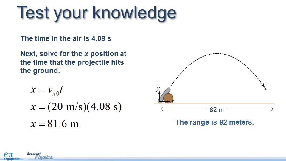 Test your knowledge The time in the air is 4.08 s