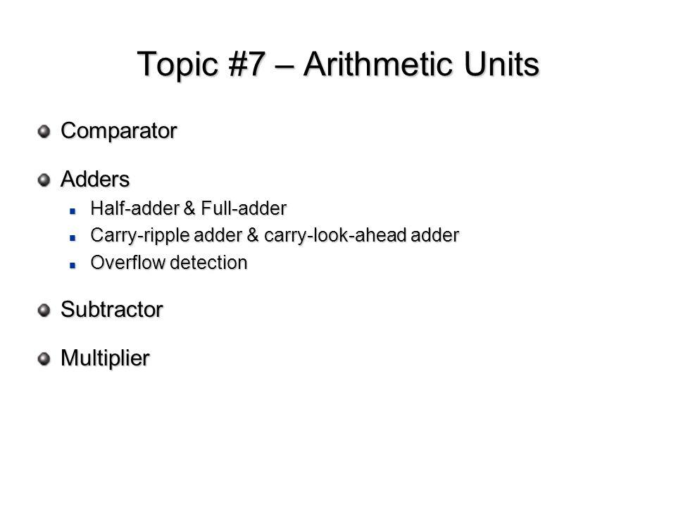 Topic #7 – Arithmetic Units