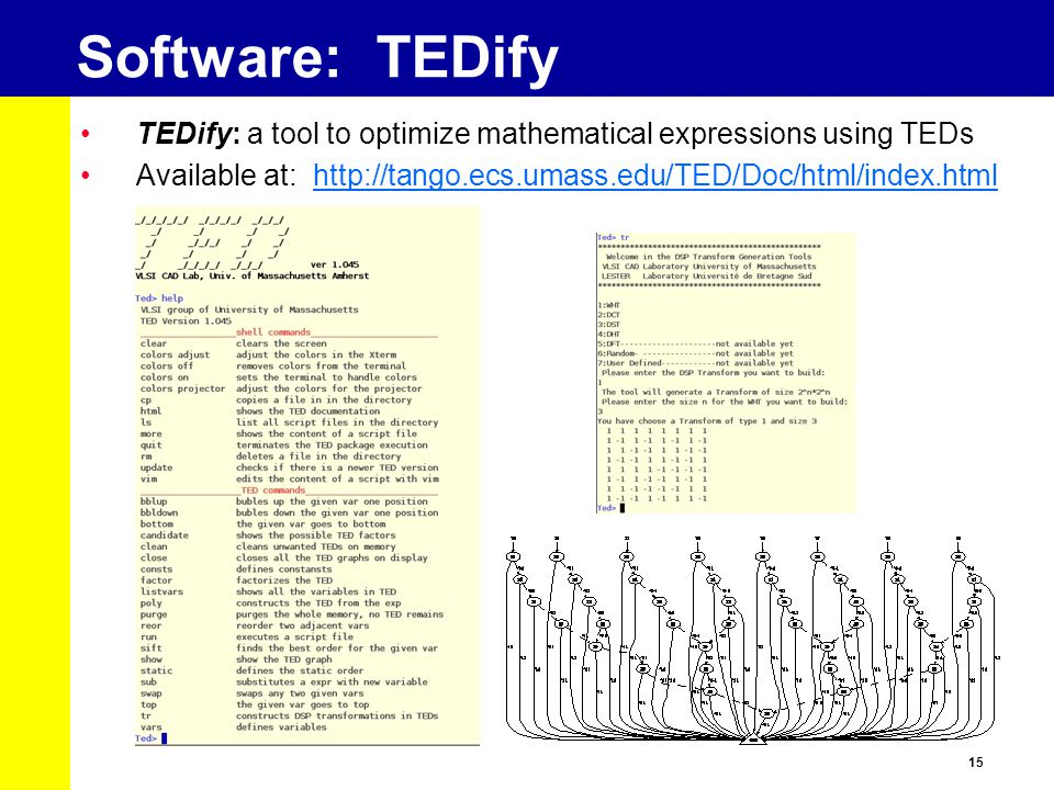 Software: TEDify TEDify: a tool to optimize mathematical expressions using TEDs.