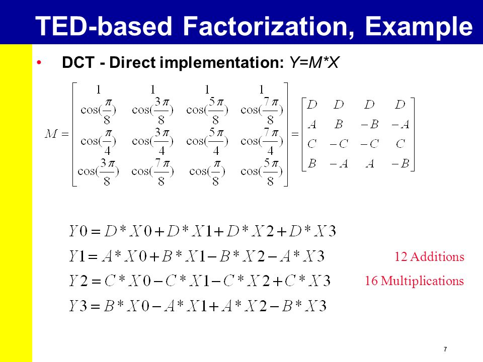 TED-based Factorization, Example