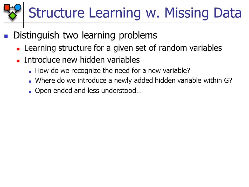 Structure Learning w. Missing Data