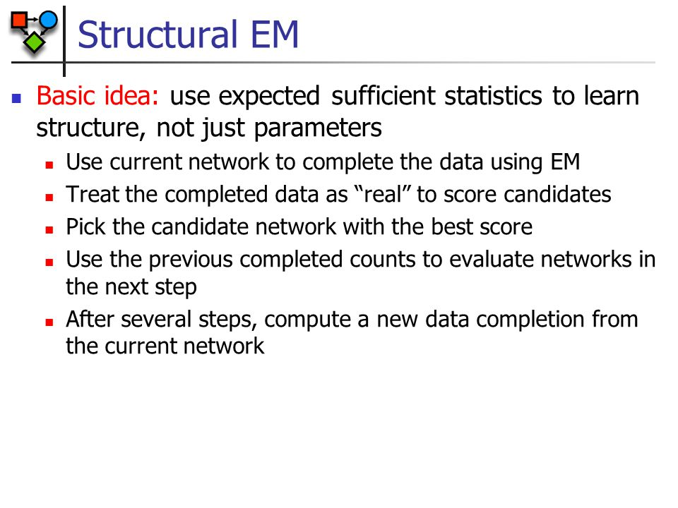 Structural EM Basic idea: use expected sufficient statistics to learn structure, not just parameters.