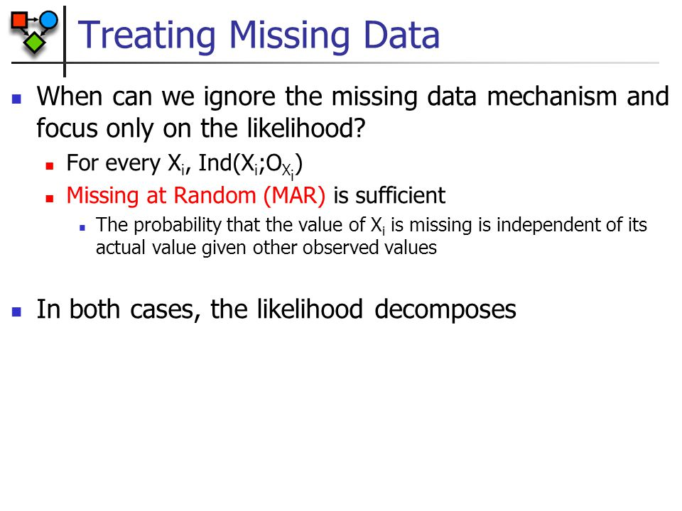 Treating Missing Data When can we ignore the missing data mechanism and focus only on the likelihood