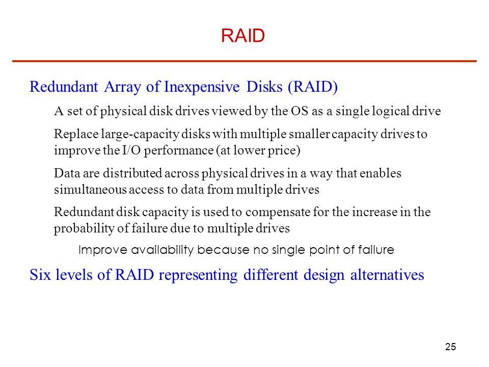 RAID Redundant Array of Inexpensive Disks (RAID)