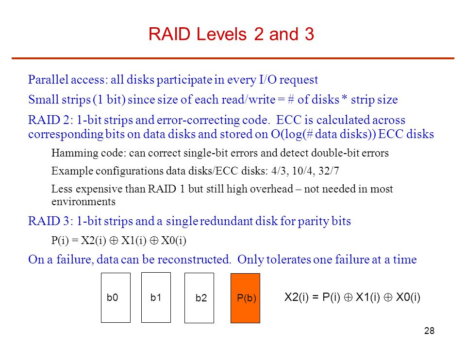 RAID Levels 2 and 3 Parallel access: all disks participate in every I/O request.