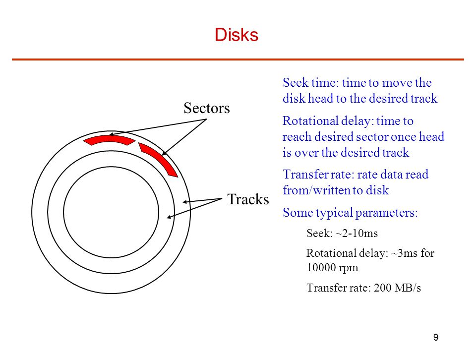 Disks Seek time: time to move the disk head to the desired track. Rotational delay: time to reach desired sector once head is over the desired track.
